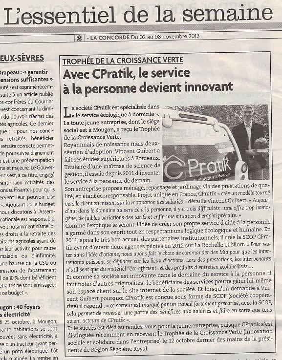 Article La Concorde - Avec Cpratik, le service à la personne devient innovant