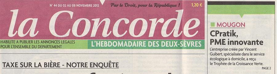 Cpratik Services à domicile - Journal La Concorde Novembre 2012